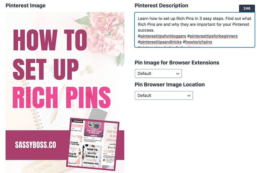 Enable Rich Pins and fill out pin description in Social Warfare