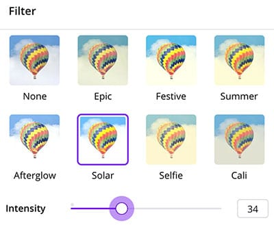 Canva vs PicMonkey - Canva has a limited amount of photo filters.