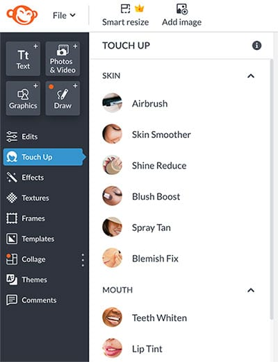 Canva vs PicMonkey - PicMonkey has lots of touch up brushes, Canva doesn't.