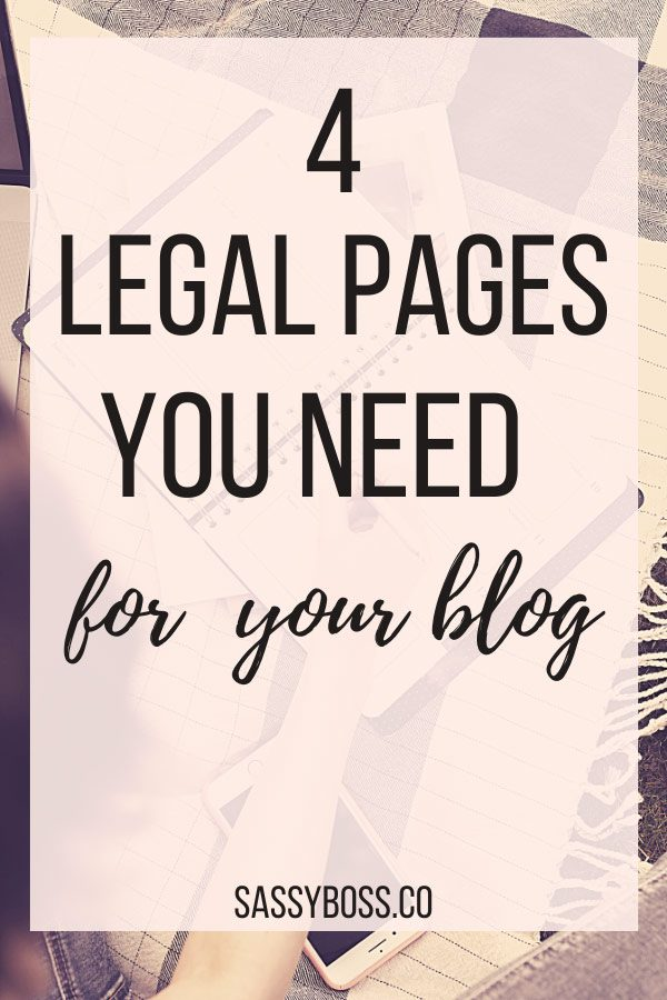 Legal pages for blog